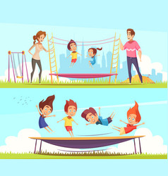 Family attractions banners collection vector
