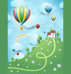 Fantasy landscape with hill and hot air balloons vector