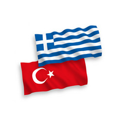 flags turkey and greece on a white background vector image