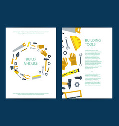 Flat construction tools card or flyer vector