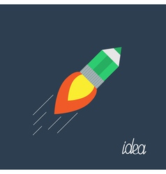 Flying pencil with rocket fire Business Idea flat vector