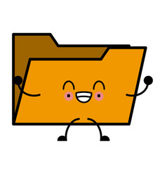 folder open symbol cute kawaii cartoon vector image