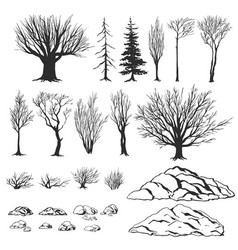 Forest constructor ink hand drawn vector