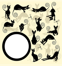 frame with black cats vector image