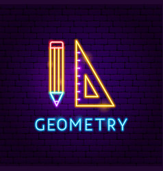 geometry neon label vector image