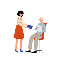 Girl giving paper documents to man who sitting on vector