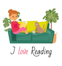 girl reading book on sofa and cat home pet vector image