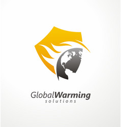 Global warming solutions conceptual symbol design vector