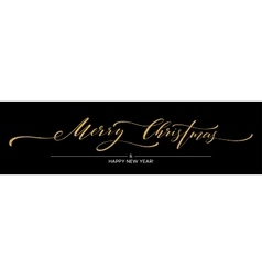 Gold glitter Merry Christmas lettering design vector