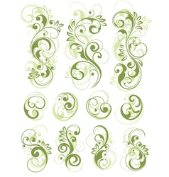 green floral designs on white vector image
