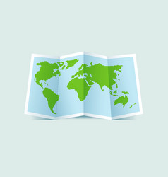 Green folded paper world map vector