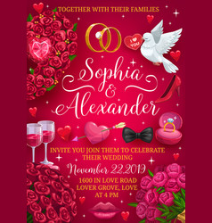 Groom and bride names wedding day party invitation vector