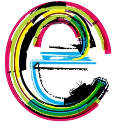 Grunge colorful font Letter e vector
