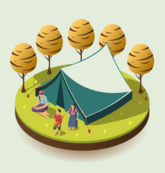 gypsy camping isometric design concept vector image