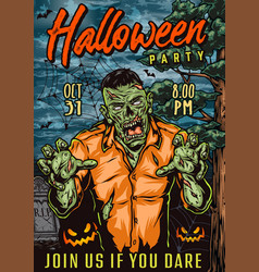 halloween night colorful vintage poster vector image