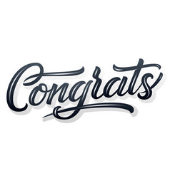 hand drawn lettering congrats with shadow and vector image
