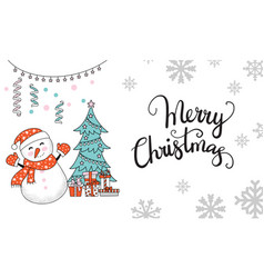 horizontal christmas card snowman jingle bells vector image