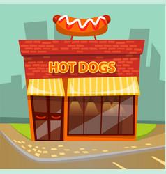 Hot dogs cafe cafeteria building facade exterior vector