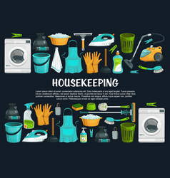 housekeeping and cleaning tools vector image