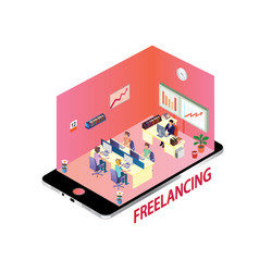 isometric design concept of freelancing community vector image