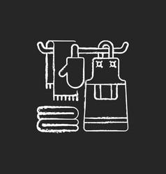 Kitchen linen chalk white icon on black background vector
