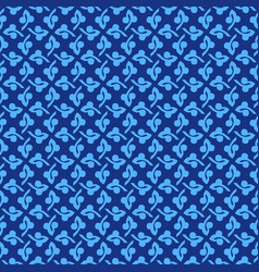 Korean traditional blue plant pattern background vector
