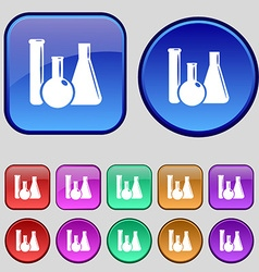 Laboratory glass chemistry icon sign A set of vector