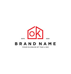 Letter ok home logo design concept vector