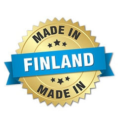 made in Finland gold badge with blue ribbon vector image