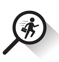 magnifying glass with running man icon vector image