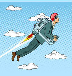 Man flying jet pack pop art style vector