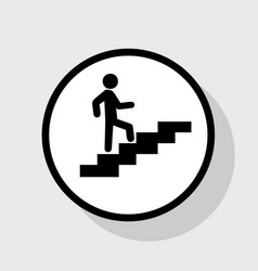 Man on stairs going up flat black icon in vector