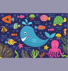 Marine animals in sea vector