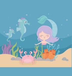 mermaid seahorses crab coral sand cartoon under vector image