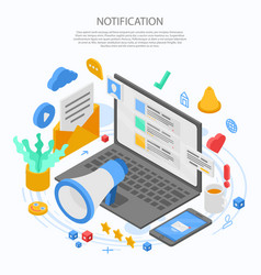 Notification message concept banner isometric vector