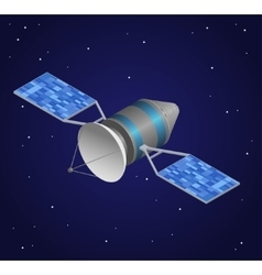 Observation satellite on night sky background vector
