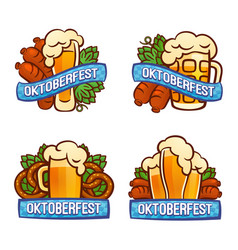 Oktoberfest logo set cartoon style vector