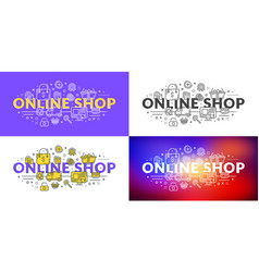 online shop flat line concept for web banner and vector image