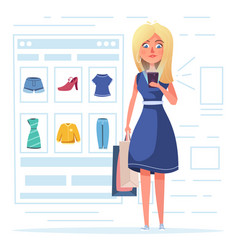 online shopping beautiful girl character design vector image