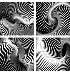 Op art backgrounds set vector