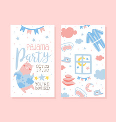 pajama party invitation card template light pink vector image