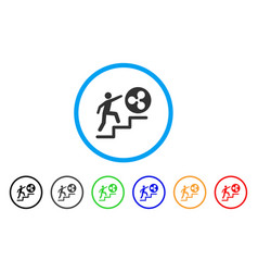Person climbing to ripple rounded icon vector