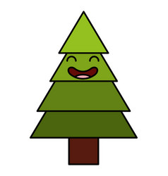 Pine tree kawaii character vector