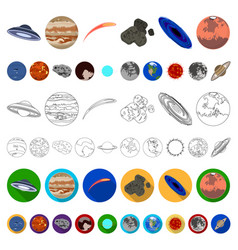 planets of the solar system cartoon icons in set vector image