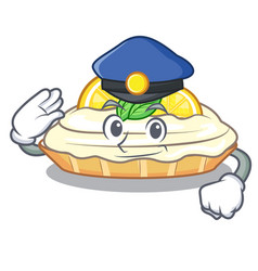 Police cartoon lemon cake with sugar powder vector