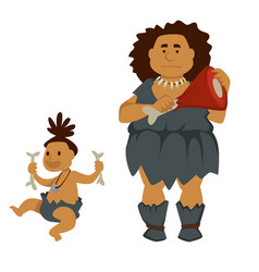 Primitive woman with meat and baby holding bones vector