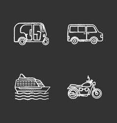 Public transport chalk icons set vector