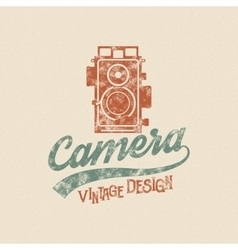 Retro poster or logo template with old camera icon vector