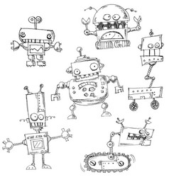 robot doodles isolated vector image