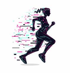 Running girl silhouette woman run vector
